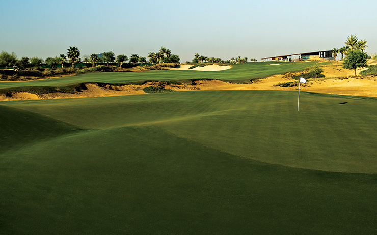 The tricky crevasse in the 7th green. The elevated 8th green is in the background (Photo: Farooq Salik)