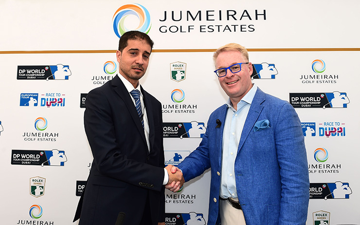 Abdulaziz Bukhatir, Executive Director and Deputy CEO of Jumeirah Golf Estates (left) with European Tour CEO Keith Pelley