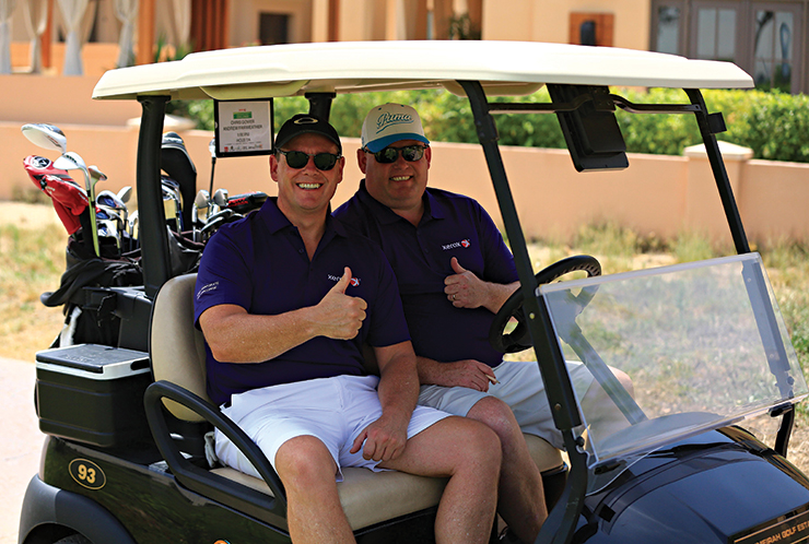 Govier, an 18-handicapper, with Andy Fairweather, in this year's first qualifier at JGE