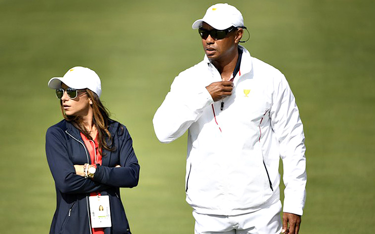 ef992cef6 JERSEY CITY, NJ – SEPTEMBER 29: Tiger Woods, Captains Assistant of the U.S.  Team, and girlfriend Erica Herman on the course during the second round of  the ...