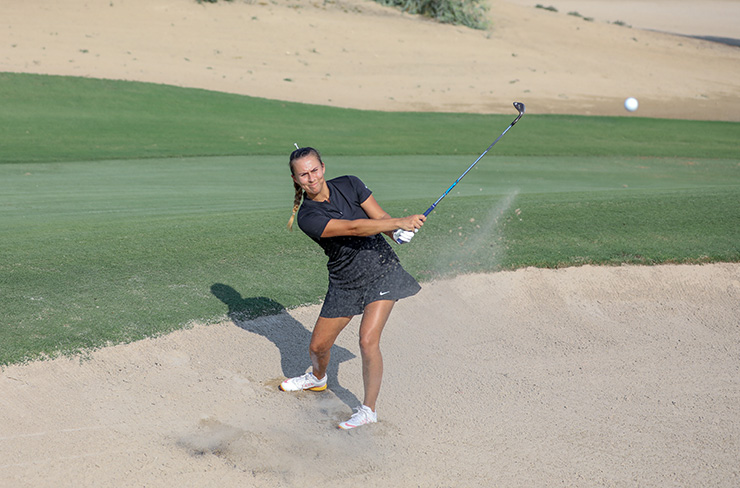 45876719087287 Hannah Mannion shows a deft touch out of the sand. She also displayed  plenty of pep with the driver at The Els