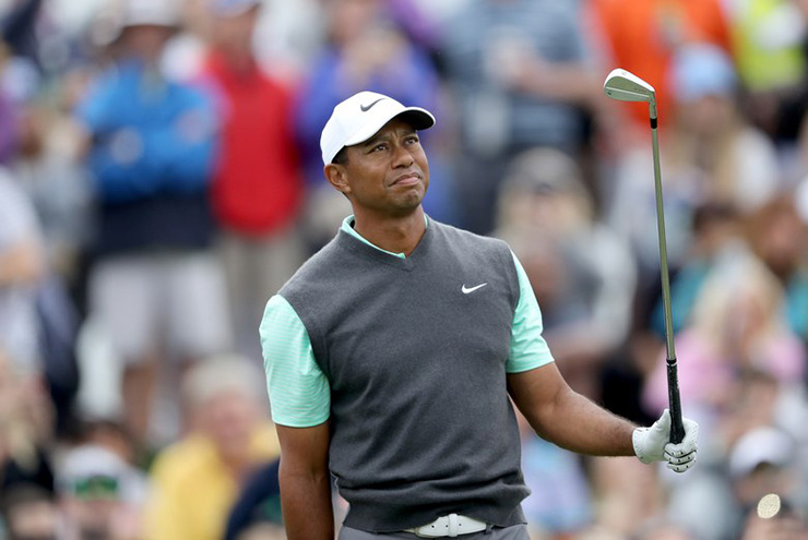 91803351 PONTE VEDRA BEACH, FLORIDA – MARCH 16: Tiger Woods of the United States  plays his tee shot on the par 3, third hole during the third round of the  2019 ...